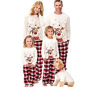 abordables -Regard de la famille Lots de Vêtements pour Famille Ensemble de Vêtements Animal Manches Longues Imprimé Blanche Noël