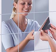 abordables -9 pièces 15 * 15 cm miroir autocollant mural carré auto-adhésif acrylique miroir carreaux autocollants pour chambre salle de bains décor à la maison murale