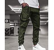 economico -Per uomo Carico Pantaloni Carico tattico Pantaloni Tinta unita Lunghezza intera Verde militare Cachi Blu marino Grigio
