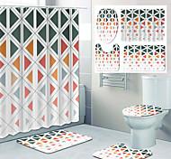abordables -motif géométrique impression salle de bain rideau de douche toilettes de loisirs conception quatre pièces