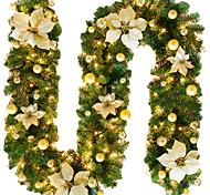 abordables -2,7 m guirlande de rotin de noël décoratif vert guirlande de noël artificiel arbre de noël rotin bannière décoration