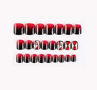 economico -24 pezzi nero e rosso nuova serie geometrica unghie finte finito nail art patch unghie finte che indossano nail art nail patch color nail patch