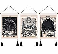 """abordables -pack de 3 tarot divination tapisserie murale bohème art décor couverture rideau suspendu maison chambre salon décoration nordique coton lin gland lune étoiles soleil 14 """"x 20"""""""