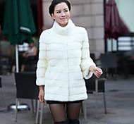 economico -Per donna Tinta unita Autunno inverno Cappotto di pelliccia sintetica Lungo Per uscire Cappotto Top Bianco