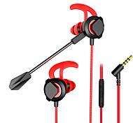 abordables -1 Ecouteur Oreillette Avec Fil Prise audio 3,5 mm Stéréo Deux pilotes Avec Micro Avec contrôle du volume Contrôle en ligne pour Jeux
