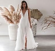 economico -Per donna Abito con bretelline Vestito maxi Bianco Senza maniche Tinta unica Spacco Pizzo Autunno Inverno A V Elegante Sensuale 2021 S M L XL