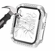 abordables -compatible avec apple watch series 6 5 4 3 2 1 se cas 38mm avec protecteur d'écran en verre trempé, femmes iwatch bling crystal diamond strass protection cover (argent, 38mm)