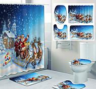 abordables -santa claus motif impression rideau de douche salle de bain toilettes de loisirs conception quatre pièces