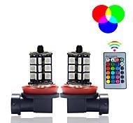 abordables -2 pcs 5050 27smd 3 core led rgb télécommande voiture phare DRL flash antibrouillard ampoule 9005 9006 H7 H11 lampe