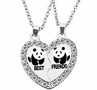 economico -bff collana per 2, migliore amico collane, split panda, delfino, pinguino San Valentino cuore strass amicizia collane inciso ciondolo-panda