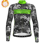 economico -21Grams Per uomo Manica lunga Maglia da ciclismo Inverno Vello Poliestere Verde Camouflage Bicicletta Maglietta / Maglia Superiore Ciclismo da montagna Cicismo su strada Fodera di vello Tenere al