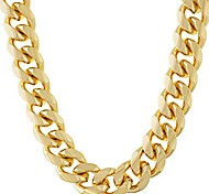 abordables -chaîne à maillons cubains 11 mm rond collier épais plaqué or 24 carats garanti à vie 18 pouces