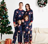 abordables -Regard de la famille Lots de Vêtements pour Famille Ensemble de Vêtements Graphique Manches Longues Imprimé Bleu Noël