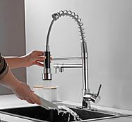 abordables -robinet de cuisine - coulissant galvanisé à une poignée deux trous /&timide; pull-down / grand /&timide; arc élevé / barre /&timide; préparation des robinets de cuisine contemporains