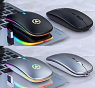 abordables -Souris silencieuse sans fil 2.4g souris rechargeable multi-couleurs touches programmables rétroéclairées souris sans fil mince pour ipadmacbook2020 pc