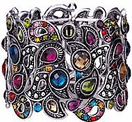 abordables -Bracelet manchette extensible à fleurs pour femmes, taille de poignet de 6-1 / 2 à 7-1 / 2 pouces - bande élastique confortable& bijoux en cristal motif floral - plomb& sans nickel - tenue de
