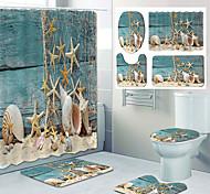 abordables -étoile de mer sur la plage motif impression salle de bain rideau de douche toilettes loisirs conception quatre pièces