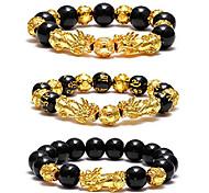 abordables -Feng shui pixiu noir obsidienne richesse bracelet changement de couleur plaqué or réglable à la main tressé corde chanceux jwelry