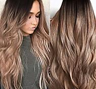 abordables -dumanfs sexy dégradé blonde perruques de fête longs cheveux bouclés ondulés couleurs mélangées perruque naturelle synthétique