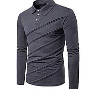abordables -Homme Chemise de golf non imprimable Couleur Pleine Manches Longues Quotidien Hauts Coton Chic de Rue Blanche Noir Gris Clair