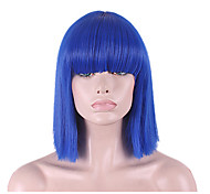 abordables -perruque synthétique hathaway partie médiane perruque bleu court droit synthétique cheveux 12 pouces femmes synthétique sexy lady coiffure