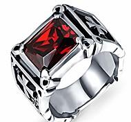 economico -anello vintage a croce in acciaio inossidabile per uomo con anello da mignolo in pietra rossa aaa (15)
