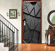 abordables -noir en trois dimensions art auto-adhésif créatif porte autocollants salon bricolage décoratif maison autocollants muraux imperméables