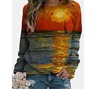 abordables -Femme Sweat à capuche Graphique Paysage Quotidien Impression 3D basique Simple Pulls Capuche Pulls molletonnés Bleu Vert