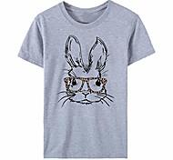 abordables -t-shirts d'été pour femmes lapin drôle avec des lunettes léopard t-shirts imprimés tunique hauts sweatshirts chemisiers