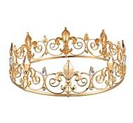 abordables -couronne du roi fleur de lis ronde pour homme (plaqué or)