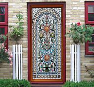 abordables -Creative marocain imitation verre porte autocollants salon bricolage décoration maison étanche stickers muraux