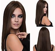 abordables -perruques mi-longues pour femmes brun choisit les cheveux raides mi-longs teints perruques moelleuses en fibre chimique mi-longues