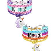 abordables -bracelet de cheval de vie d'arbre de licorne bracelet fait à la main en cuir amour licorne cheval croire charme bracelet infini avec boîte-cadeau (licorne colorée et violette A)
