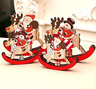 abordables -décorations de noël en bois en trois dimensions affichage de la fenêtre cheval à bascule noël intérieur père noël petits cadeaux 14 * 12/10 * 9