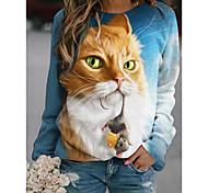 abordables -Femme Sweat à capuche Graphique Animal Quotidien basique Simple Pulls Capuche Pulls molletonnés Blanche Bleu Gris