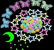 abordables -étoiles stickers muraux autocollants muraux lumineux stickers muraux décoratifs, gel de silice décoration de la maison sticker mural décoration de fenêtre 5pcs / 100pcs 100 * 26cm