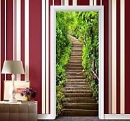 abordables -escaliers en pierre de montagne auto-adhésifs autocollants de porte créatifs salon bricolage décoratif maison autocollants muraux imperméables