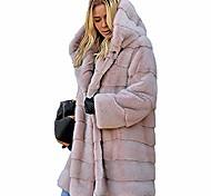 economico -cappotti invernali in pelliccia sintetica da donna giacche lunghe in pile con cappuccio abiti rosa