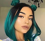 abordables -Perruque pour femmes mode vert foncé bobo cheveux raides courts boucle intérieure tête de vague cheveux courts teints cheveux en fibres chimiques