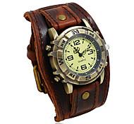 economico -orologio in pelle casual cinturino al quarzo punk cinturino con fibbia retrò per uomo