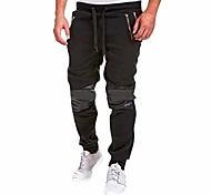 economico -pantaloni da uomo pantaloni casual da jogging slim fit pantaloni sportivi in cotone vita espandibile con tasche m-xxxl nero