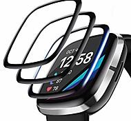 abordables -[Lot de 4] Protecteur d'écran compatible avec Fitbit Sense / Versa 3, Protecteur d'écran 3D à couverture complète Bord incurvé Économiseur de protection étanche pour Smartwatch Sense