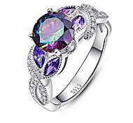 economico -anelli di fidanzamento solitario con zirconi cubici a taglio rotondo in argento massiccio 925 misura 5,5
