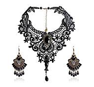 abordables -élégant vintage dentelle noire victorienne lolita gothique pendentif collier ras du cou boucles d'oreilles ensemble