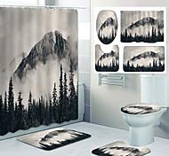 abordables -paysage peinture motif impression salle de bain rideau de douche loisirs toilettes conception quatre pièces
