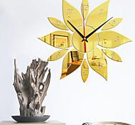 abordables -miroir de modélisation de tournesol numérique horloge murale chambre salon fond mur muet mouvement avec horloge murale de colle arrière