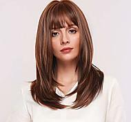 abordables -perruques droites brun doré naturel 18 pouces de long perruques de cheveux blonds droits avec racine plus foncée pour les femmes avec une frange