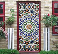 abordables -Creative peint à la main couleur mandala porte autocollants salon bricolage décoration maison stickers muraux imperméables