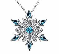 economico -catena della clavicola della collana di modo del pendente del fiocco di neve dei cristalli blu dell'argento sterlina 925 delle donne di elensan