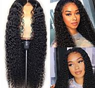 abordables -Perruque Synthétique Boucle rebondissante Partie médiane Perruque Longue Noir Cheveux Synthétiques Femme Doux Élastique Duveteux Noir